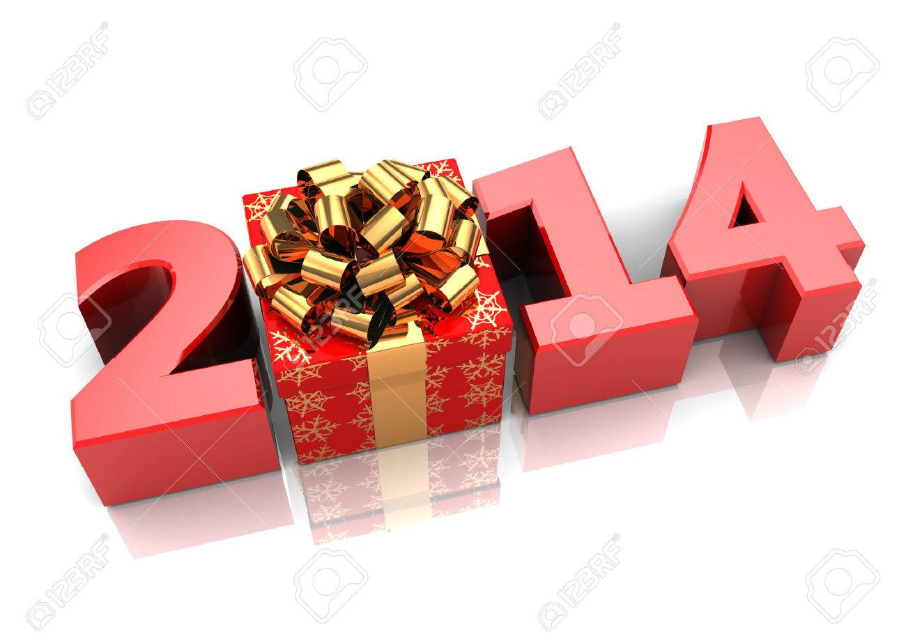 abstract 3d illustration of text 2014 with present box, over white background - 22920064
