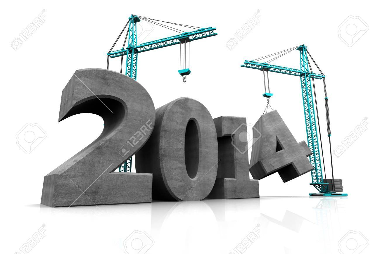 abstract 3d illustration of two cranes building text '2014', over white background - 22920085