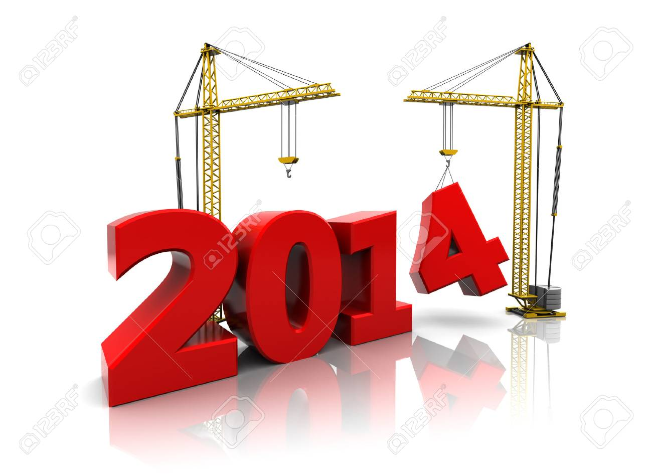 3d illustration of two cranes building new year 2014 sign - 22920088
