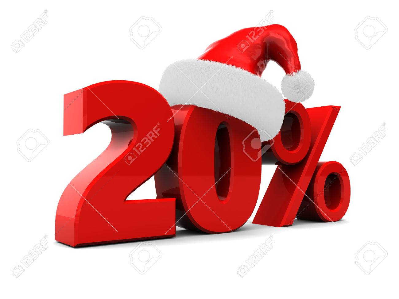 3d illustration of 20 percent christmas discount over white stock