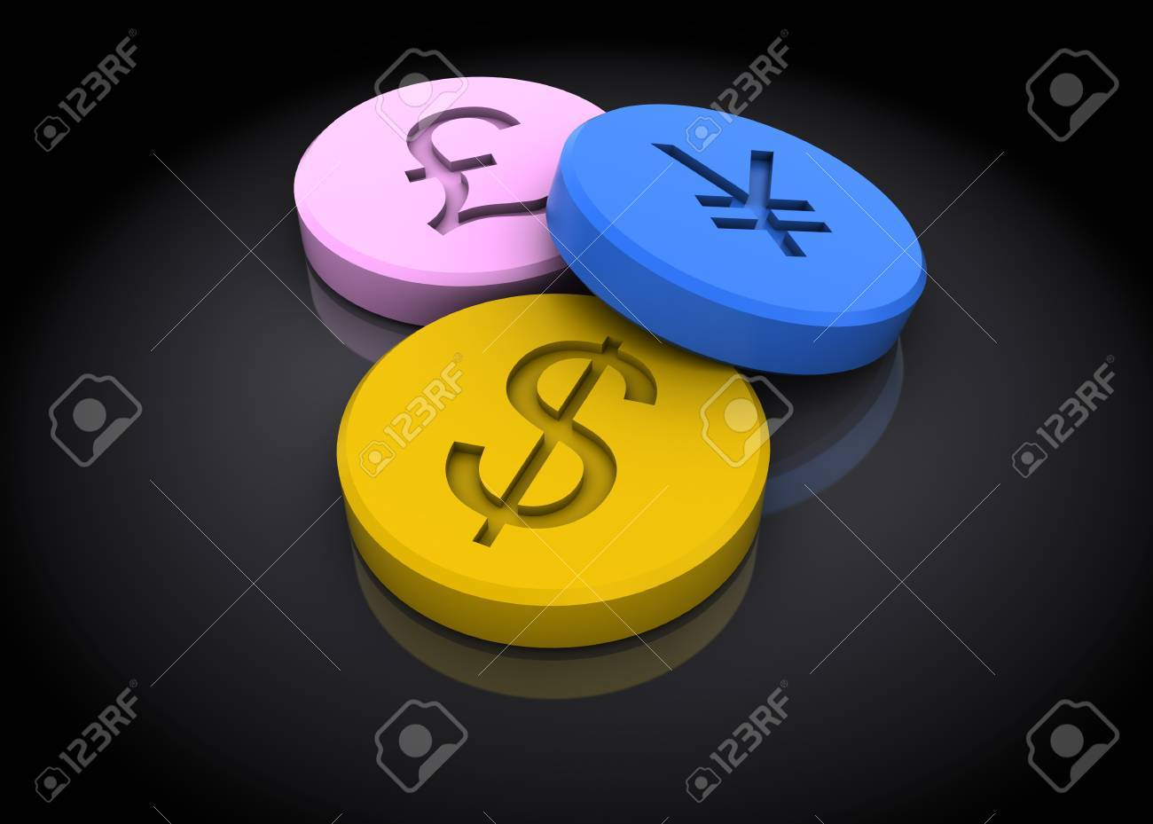 abstract 3d illustration of tablets with currency signs, over dark background Stock Illustration - 23302375