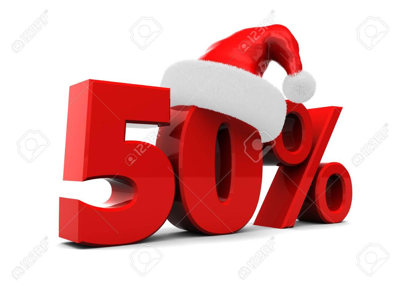 3D-Darstellung Der Weihnachts Verkauf Zeichen, Fünfzig Prozent ...