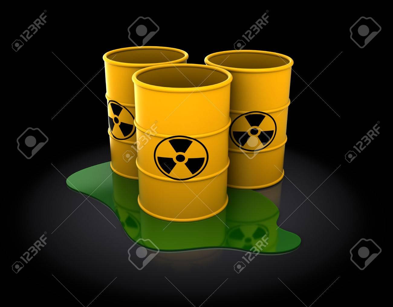3d illustration of three radioactive barrels over dark background Stock Illustration - 25603916
