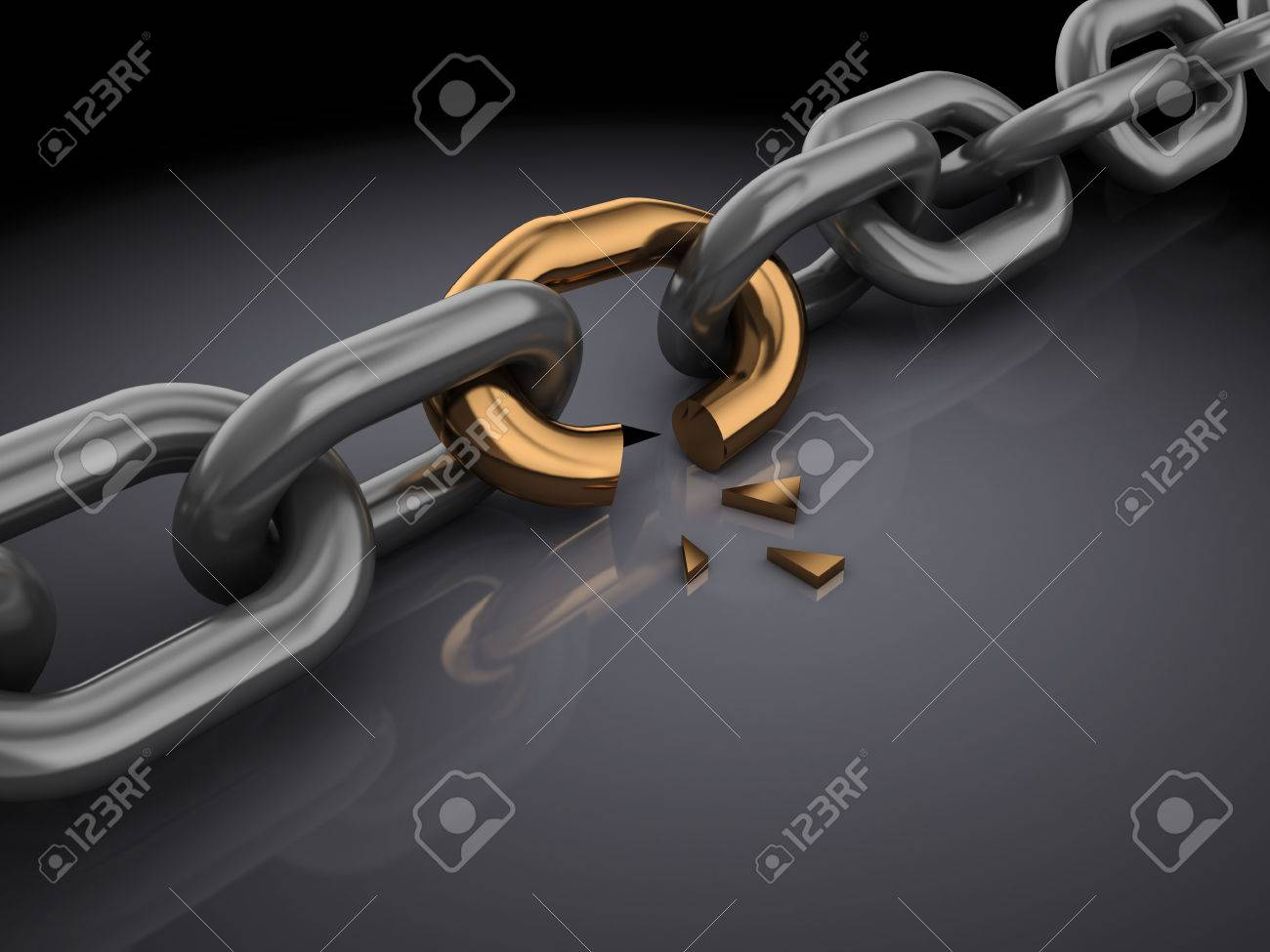 3d illustration of broken chain, over black background - 26820003