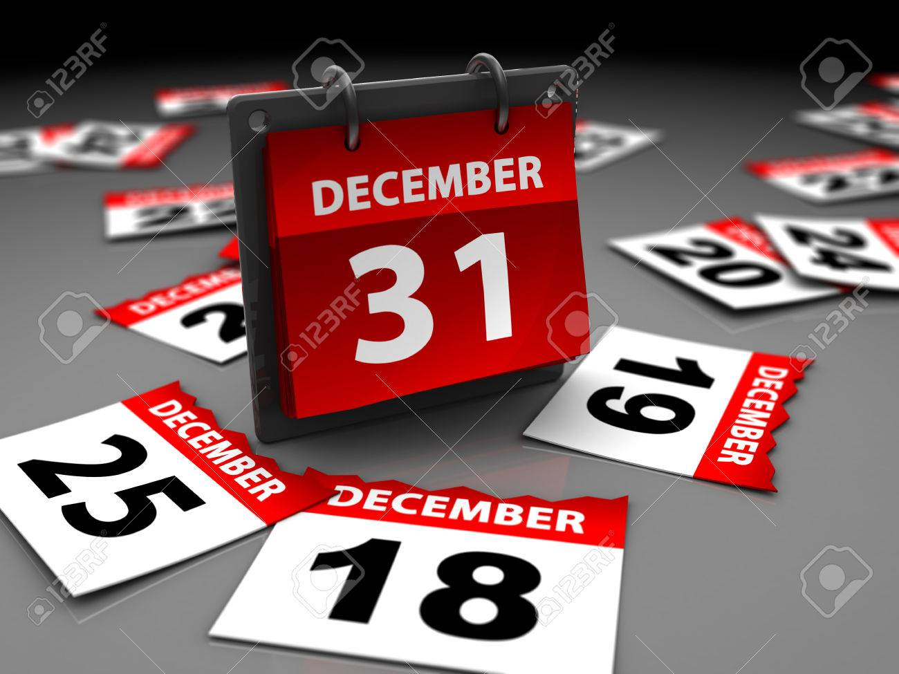 3d illustration of last day of year page calendar, over dark background Stock Photo - 27547948