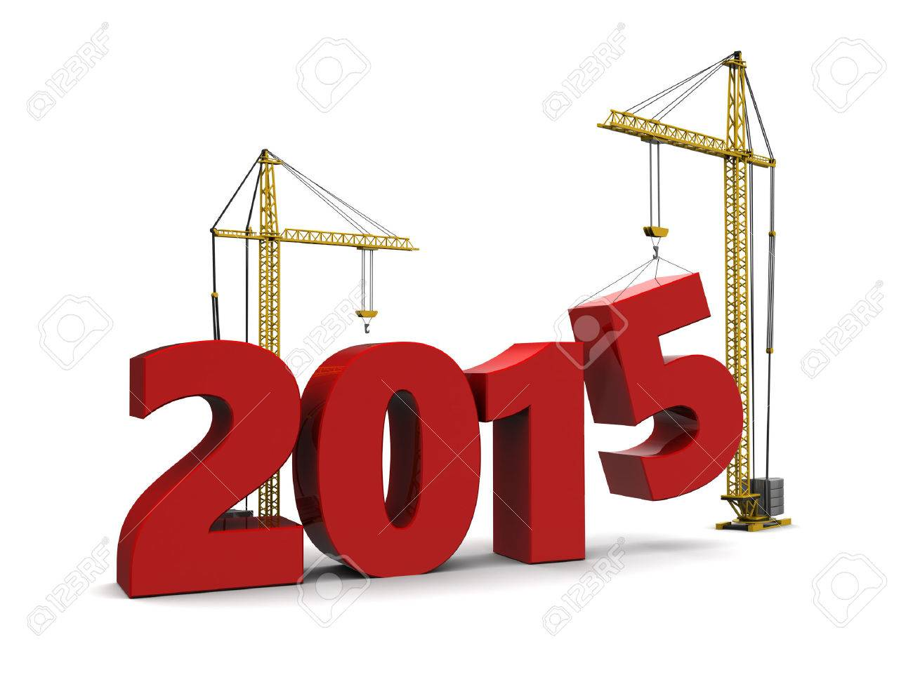 abstract 3d illustration of 2015 year sign built by cranes - 32289656