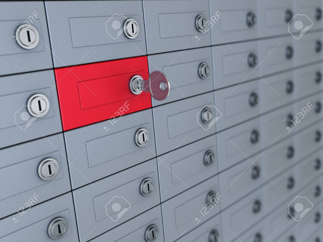3d illustration of deposit boxes with one selected - 32644240
