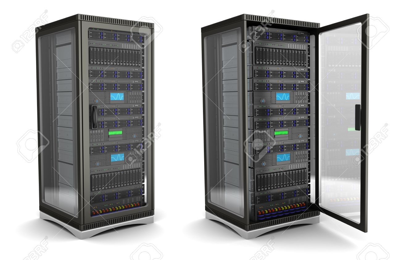 3d illustration of server rack stand opened and closed, over white background - 33213788