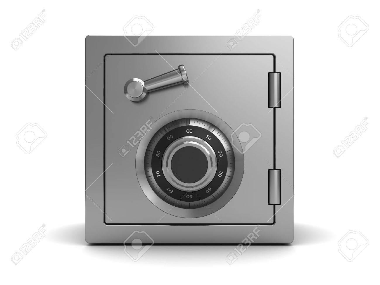 3d illustration of steel safe, front view - 37896520