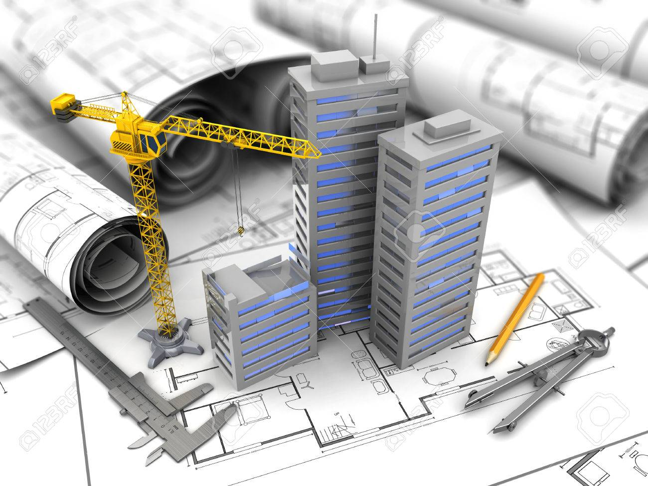 3d illustration of city construction and planning concept - 38626312