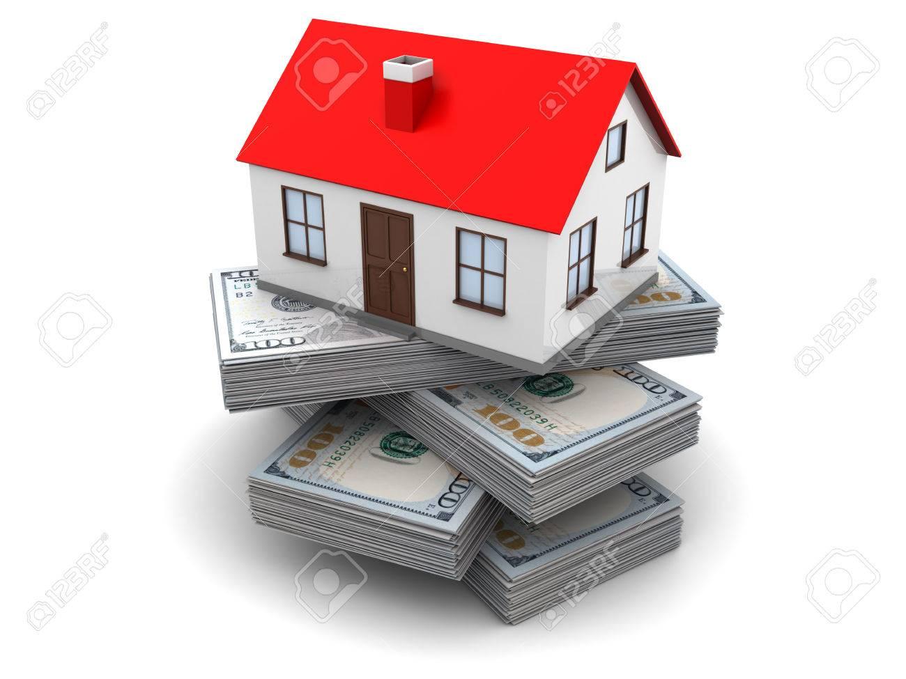 3d illustration of money for home concept - 38627297
