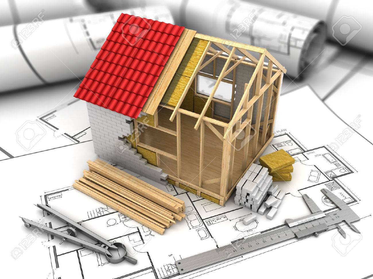 3D-Darstellung Der Rahmen Haus-Modell über Blueprints Hintergrund ...