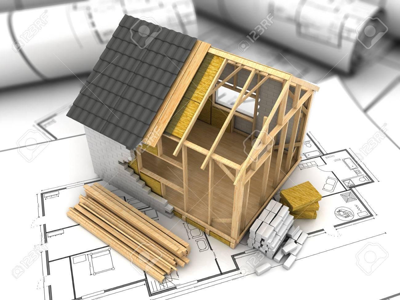 3d illustration of modern frame house project model stock photo