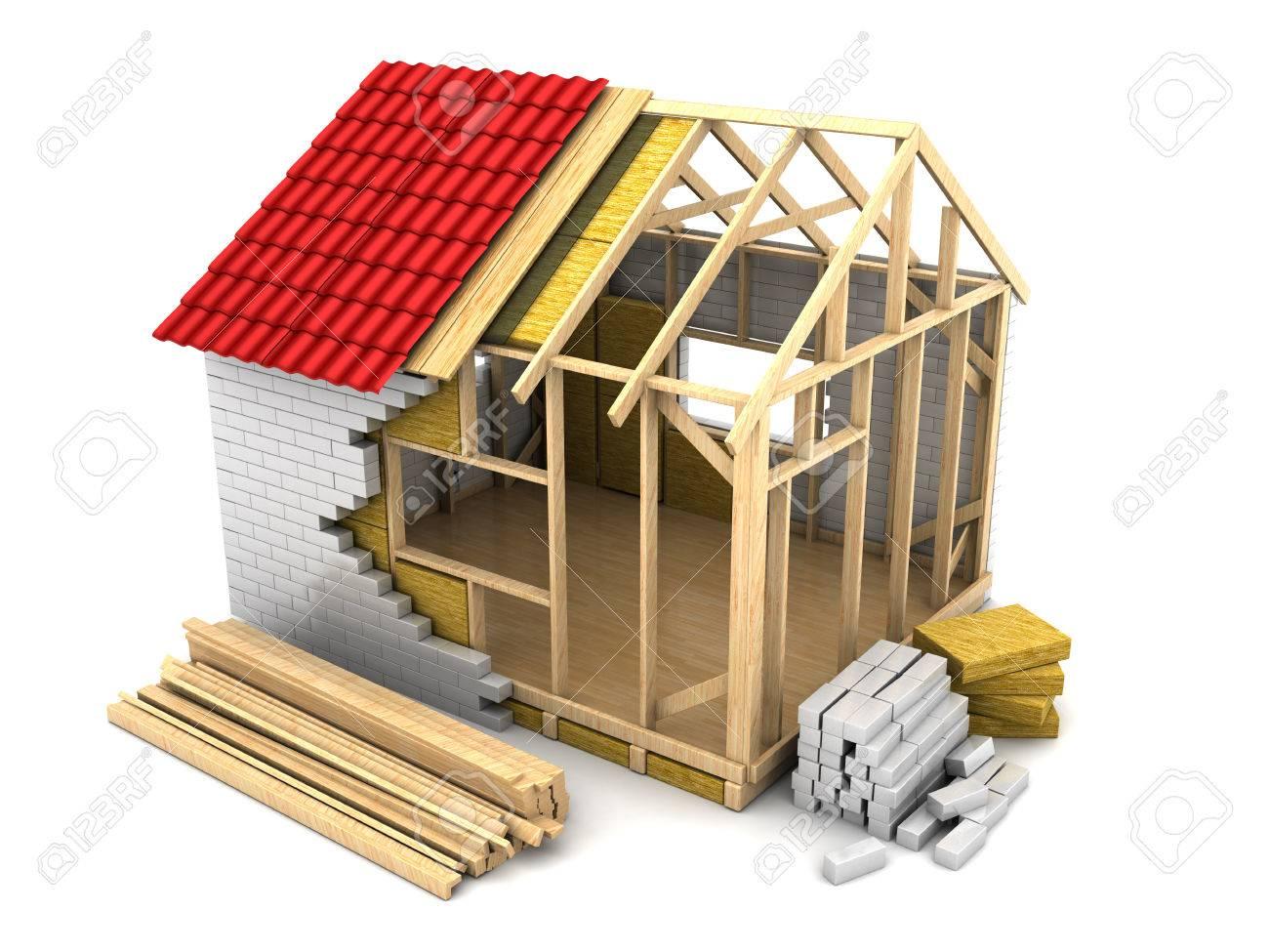 3d illustration of modern frame house construction - 40375864
