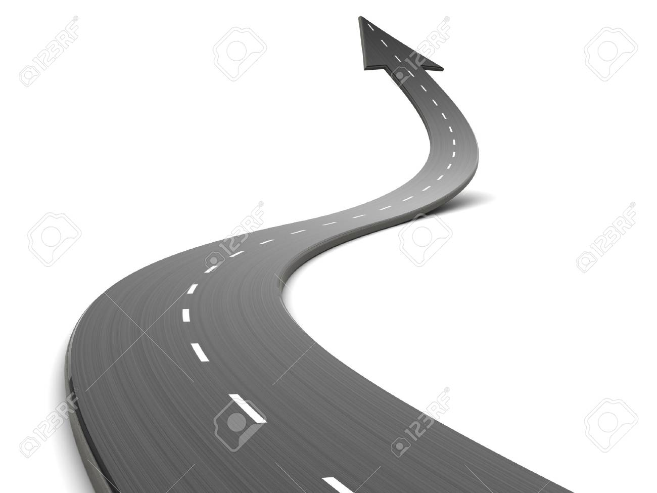 abstract 3d illustration of curved road forward with arrow - 45262408