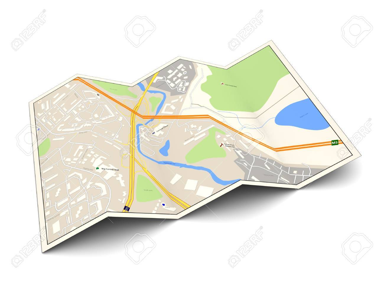 3d illustration of city map over white background - 45524430