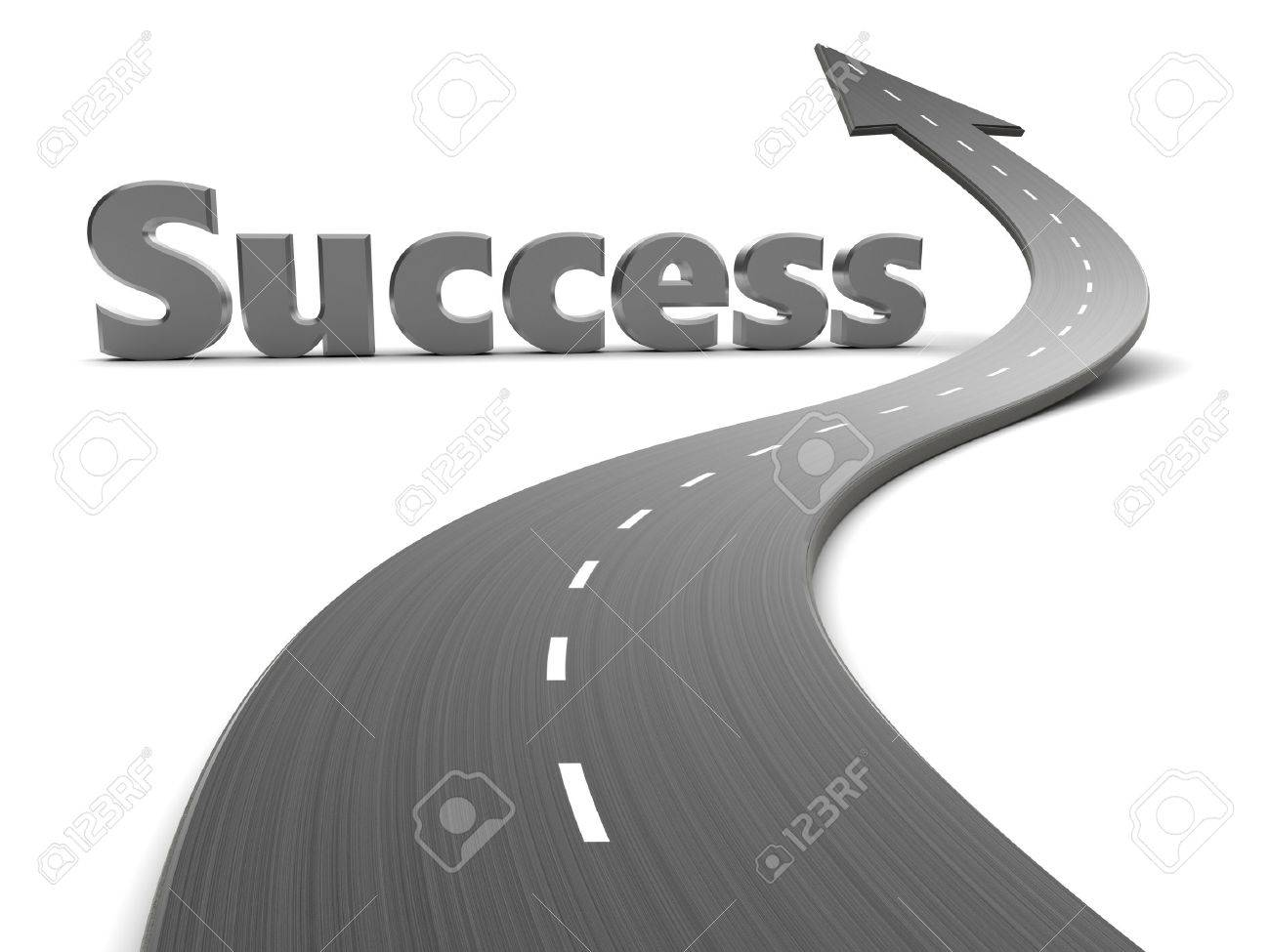 3d illustration of road with arrow and success sign - 46181471