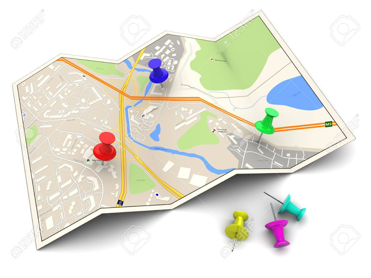 3d illustration of city map with colorful pins - 46636002