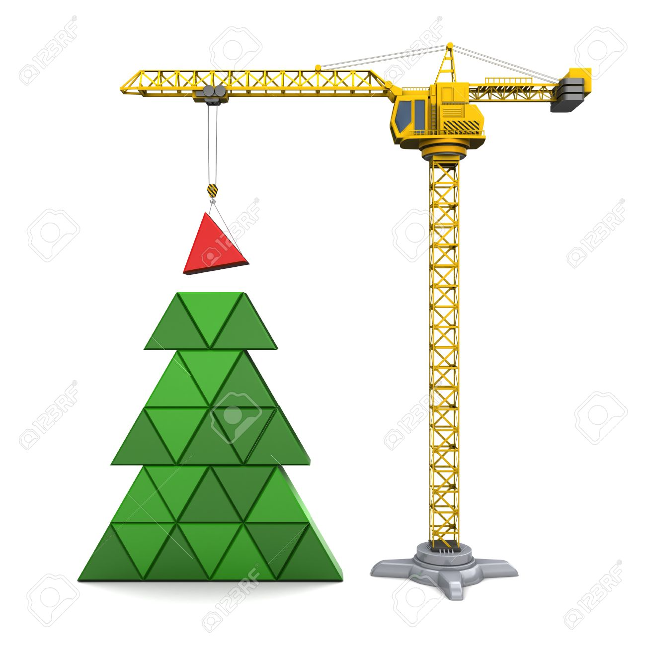 abstract 3d illustration of crane building christmas tree, over white background - 47008650