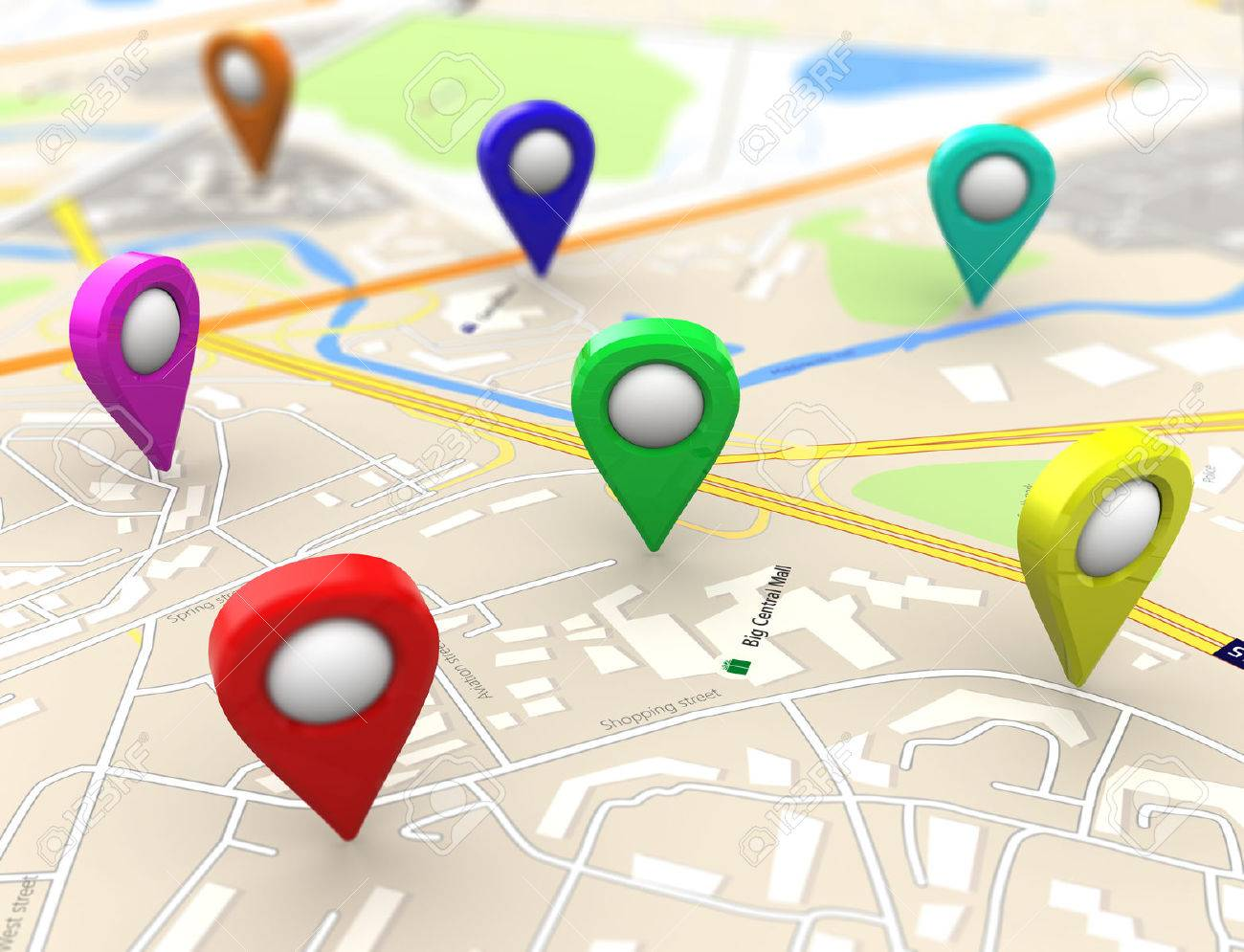3d illustration of city maps with colorful targets - 49107179