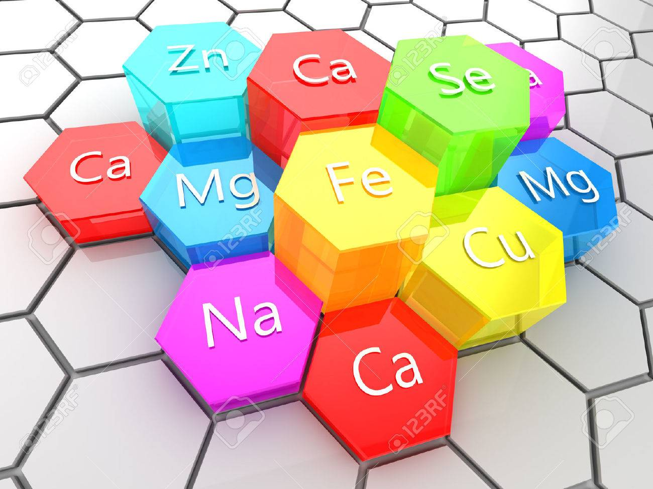 abstract 3d illustration of nutrition minerals supplement - 57865301