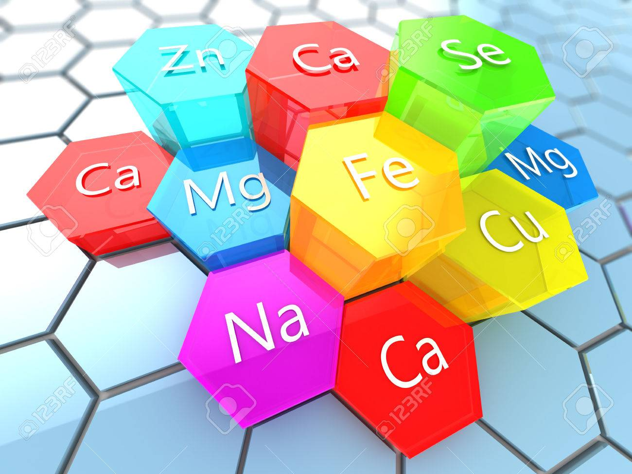 abstract 3d illustration of nutrition minerals labels over colorful hexagons - 57865458
