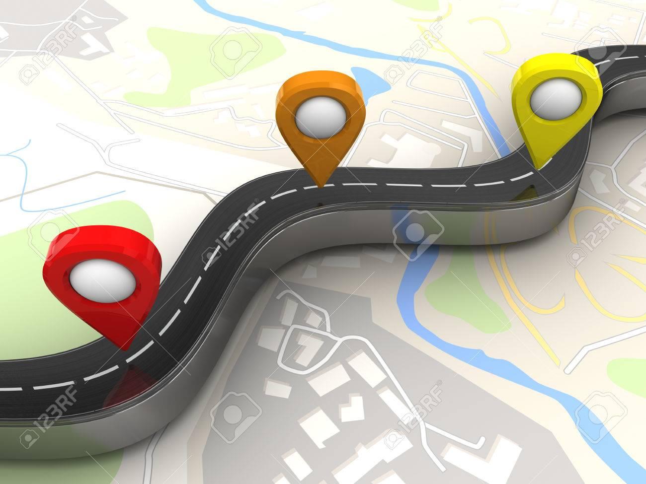 3d Illustration Of Road And Navigation Points Over Map Background – Road Navigation Map