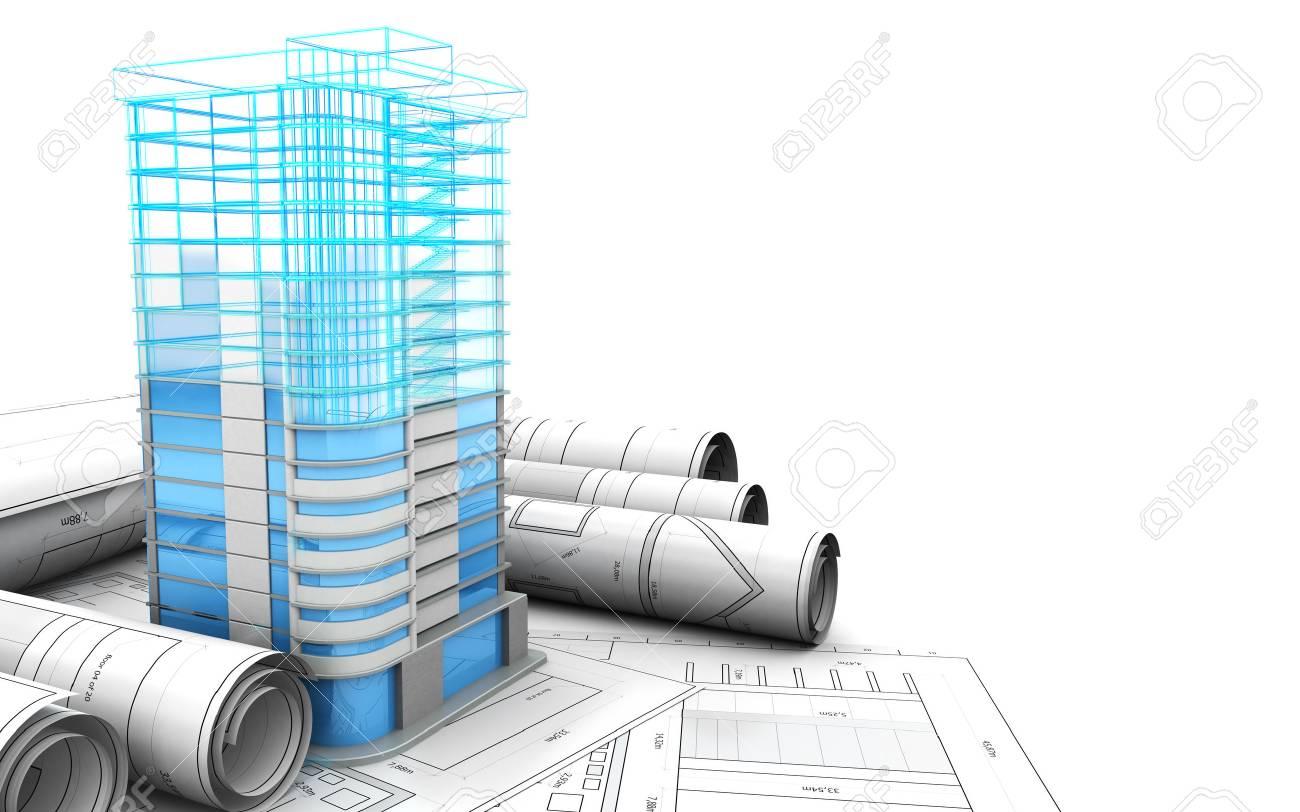 3d illustration of building design concept - 59205056