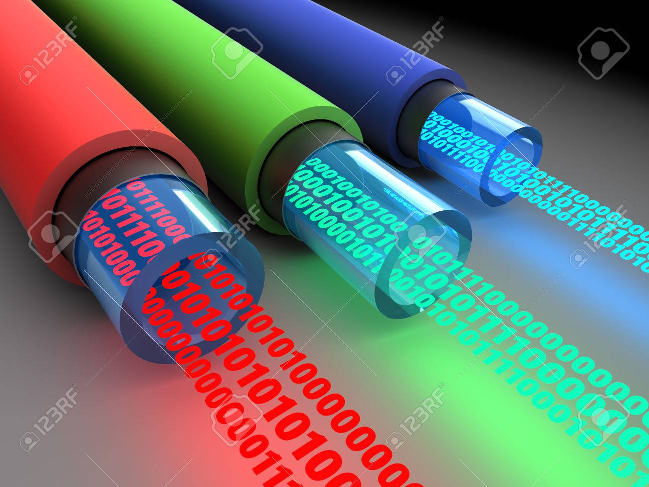 3d illustration of fiber optics cables with binary data - 61545167