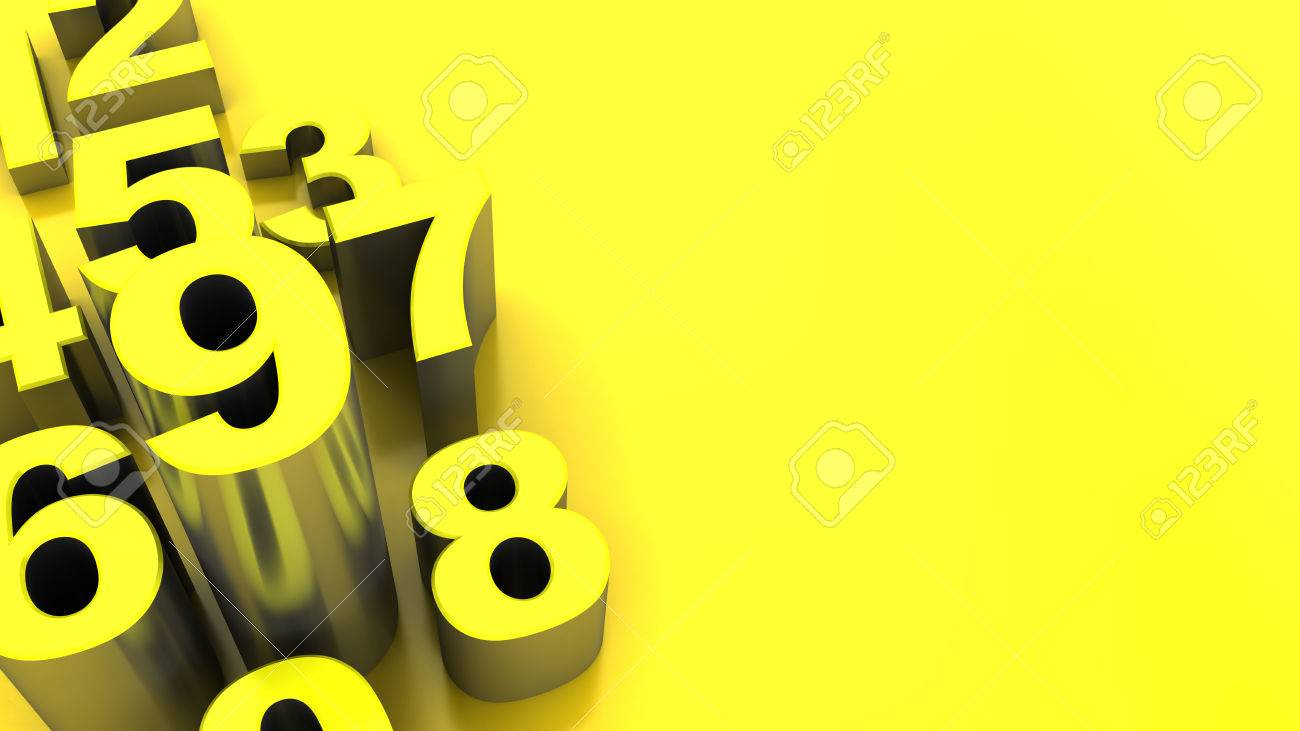abstract 3d illustration of yellow numbers background - 61545940