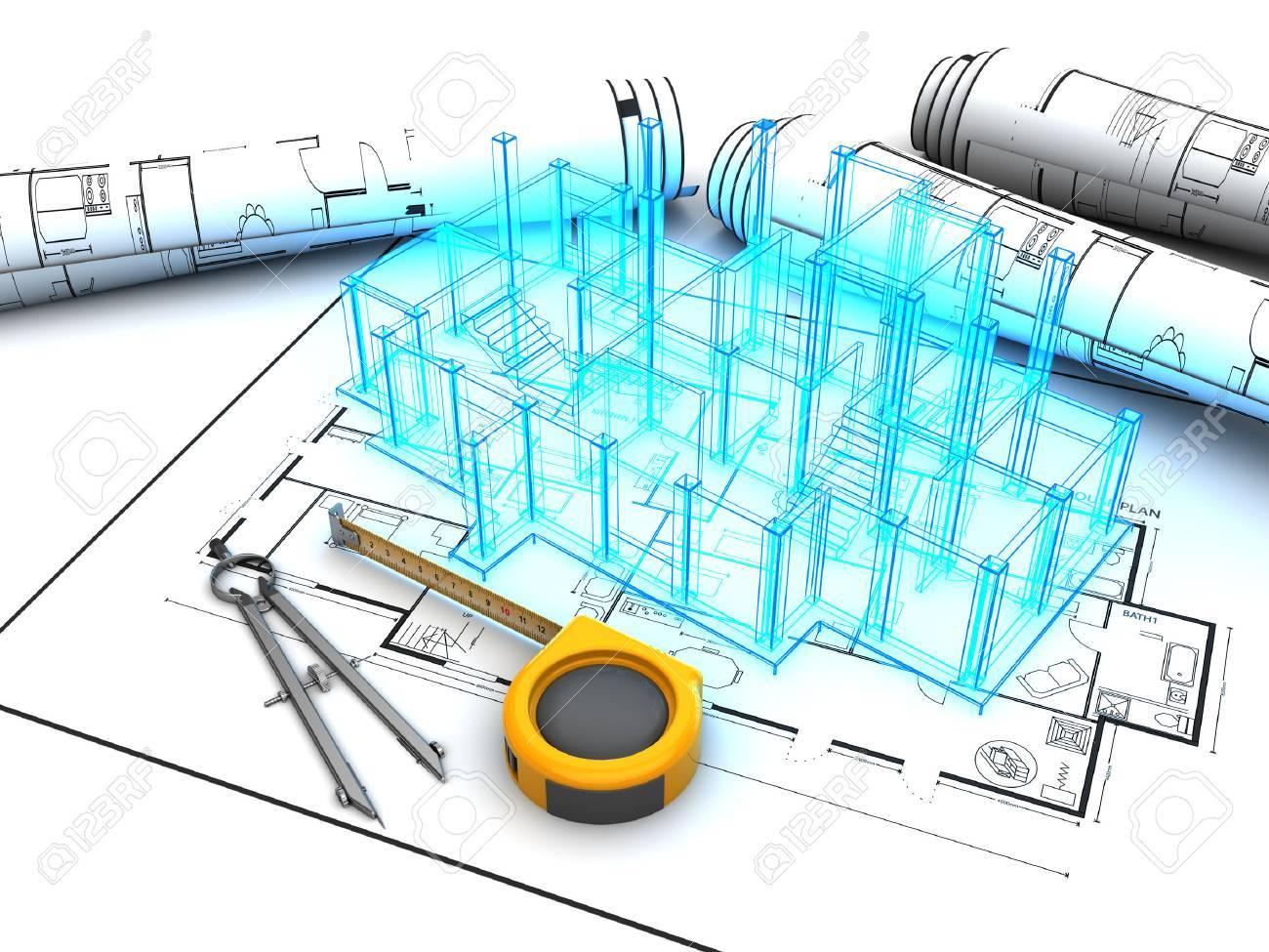 3d illustration of building design project - 61546491