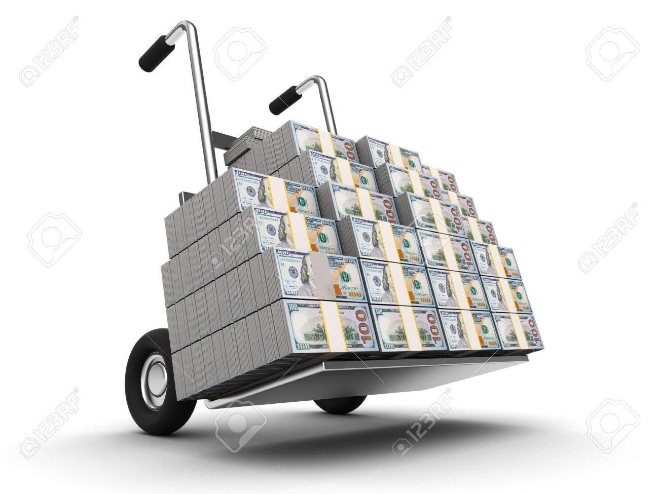 3d Illustration Of Truck Full Of Money, Over White Background Stock ...