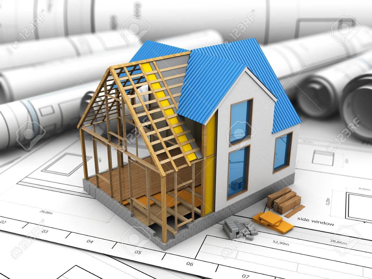 3D-Darstellung Der Design-Haus-Struktur Rahmen über Baupläne ...