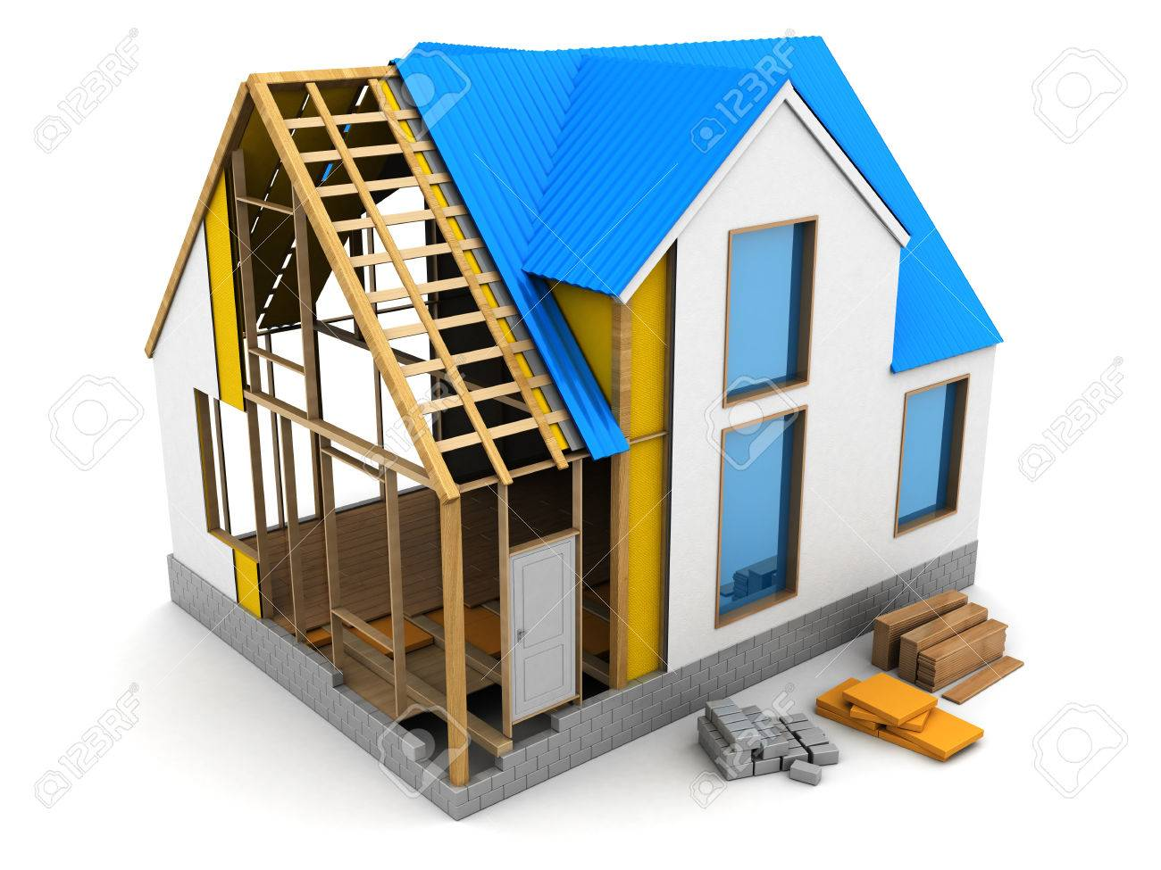 3d Illustration Of Frame House Structure Design Stock Photo, Picture on money and construction, house being built, house bulkhead construction, interior construction, house gutter construction, housing construction, strongback construction, balloon construction, framing construction, masonry house construction, house construction terminology, huge crane construction, parts of a house construction, funny house construction, house made out of popsicle sticks, building construction, house deck construction, house construction work, house under construction, house plumbing,