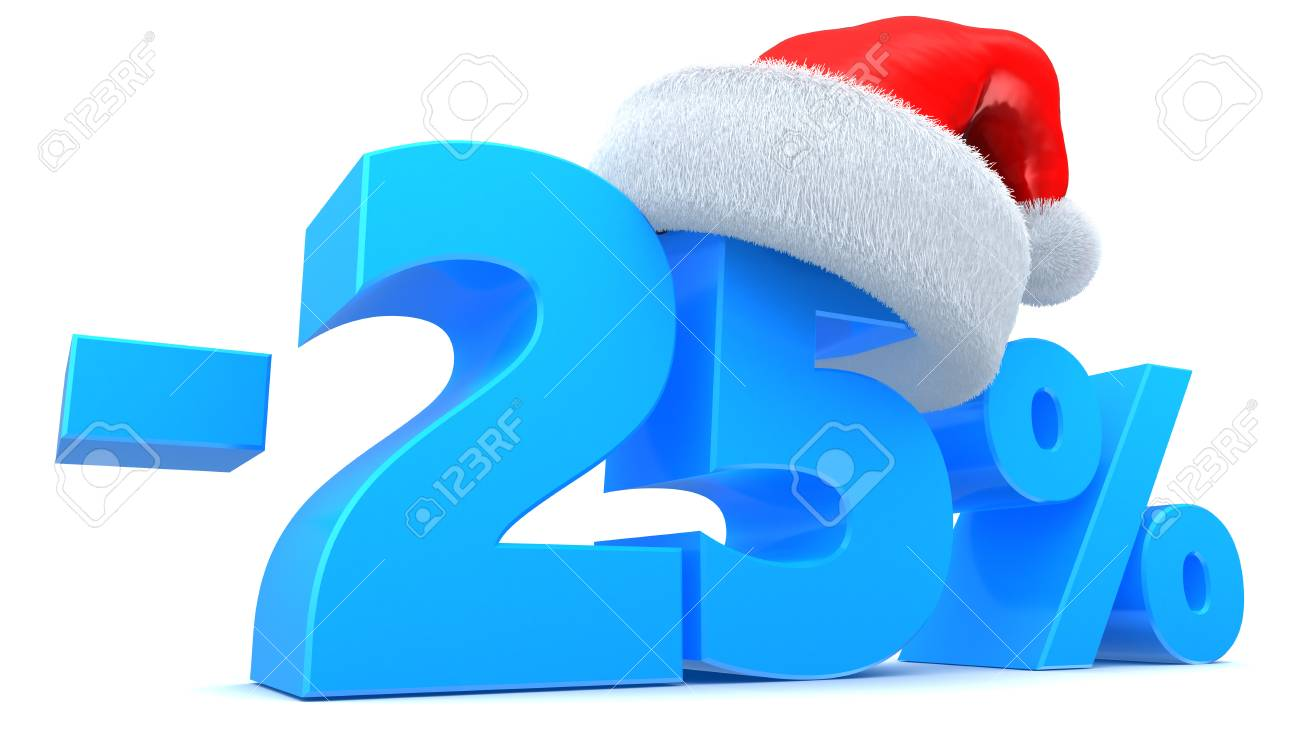 3d Illustration Of 25 Percent Christmas Sale Symbol With Red.. Stock ...