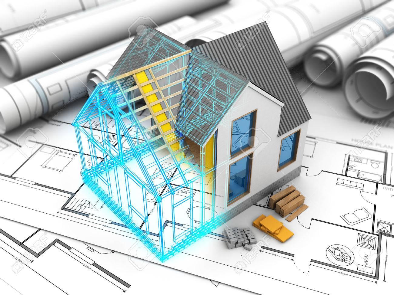 3d Illustration Du Modèle De Maison Avec Cadre Et Structure à L ...