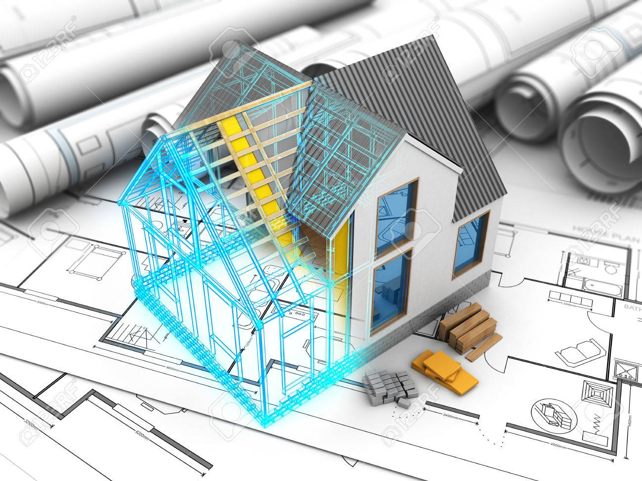 3d illustration of house model with frame and inside structure stock 3d illustration of house model with frame and inside structure stock illustration 65706762 ccuart Gallery