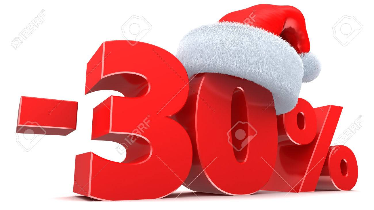 3d Illustration Of 30 Percent Christmas Sale Sign Stock Photo ...