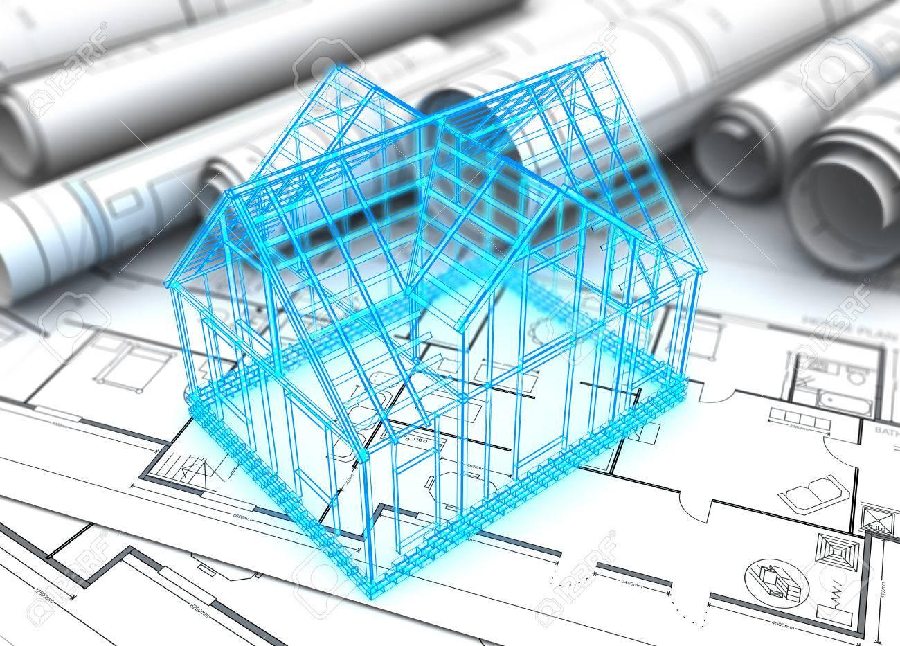 3D-Darstellung Des Hauses Baupläne Und Drahtmodell Lizenzfreie Fotos ...