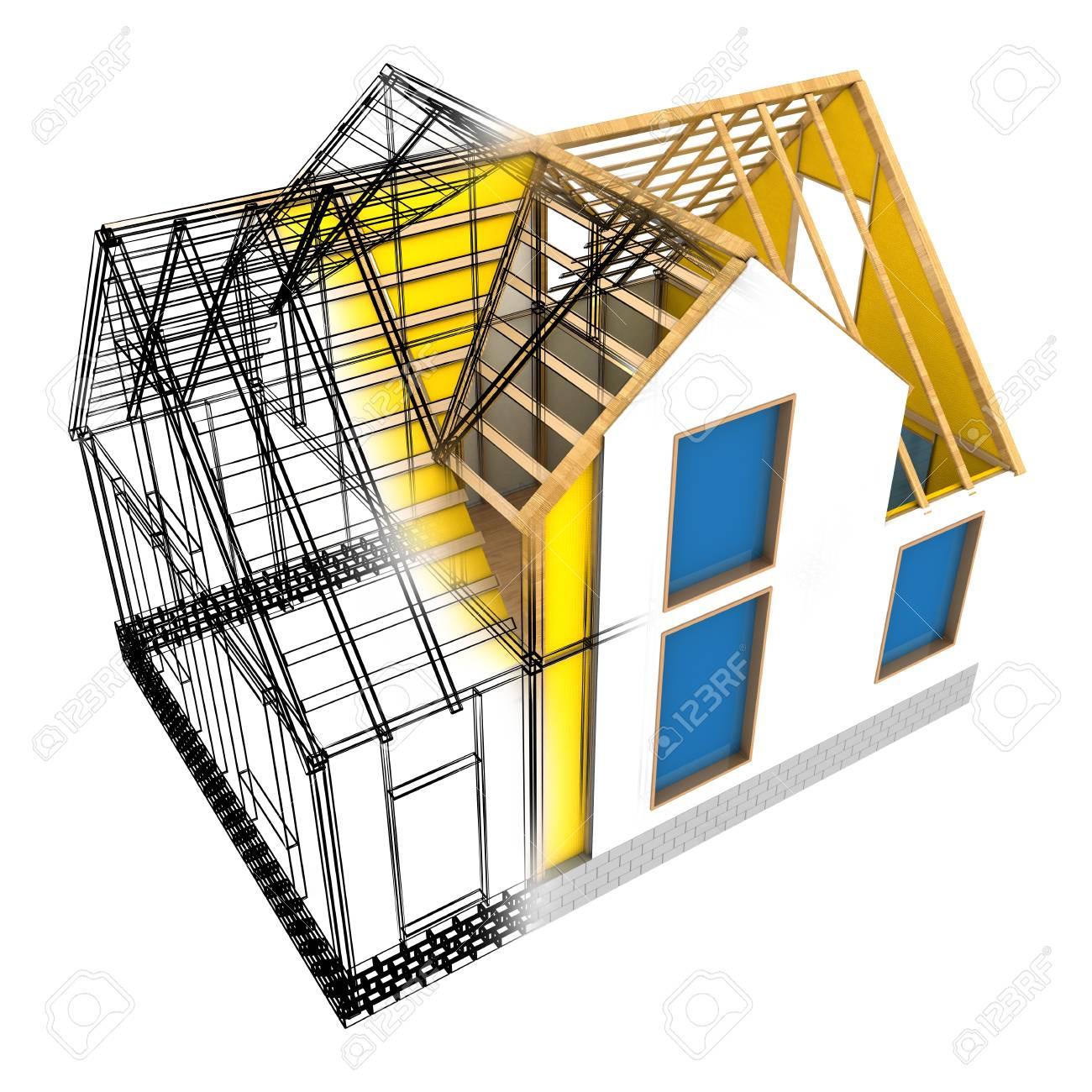 3D-Darstellung Des Hauses Design-Modell Rahmen, Isoliert über Weißem ...