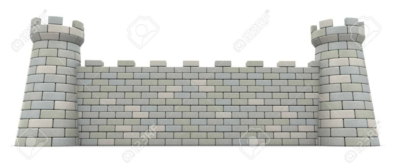 3d illustration of castle wall over white background - 68122319