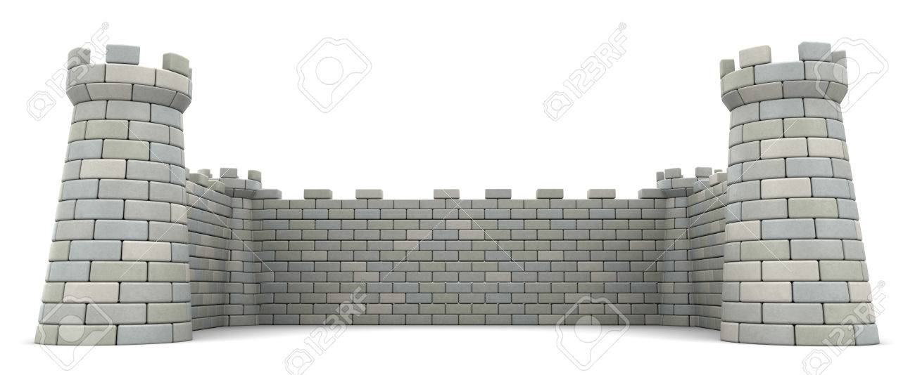 3d illustration of fortress walls, empty space template - 68122328