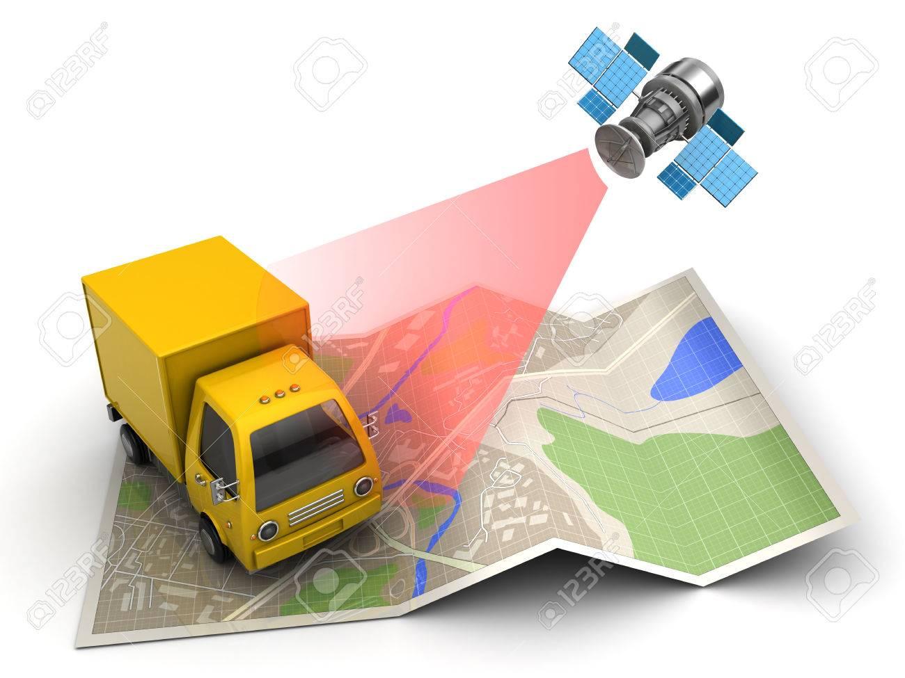 3d illustration of cargo satellite tracking concept - 65941122