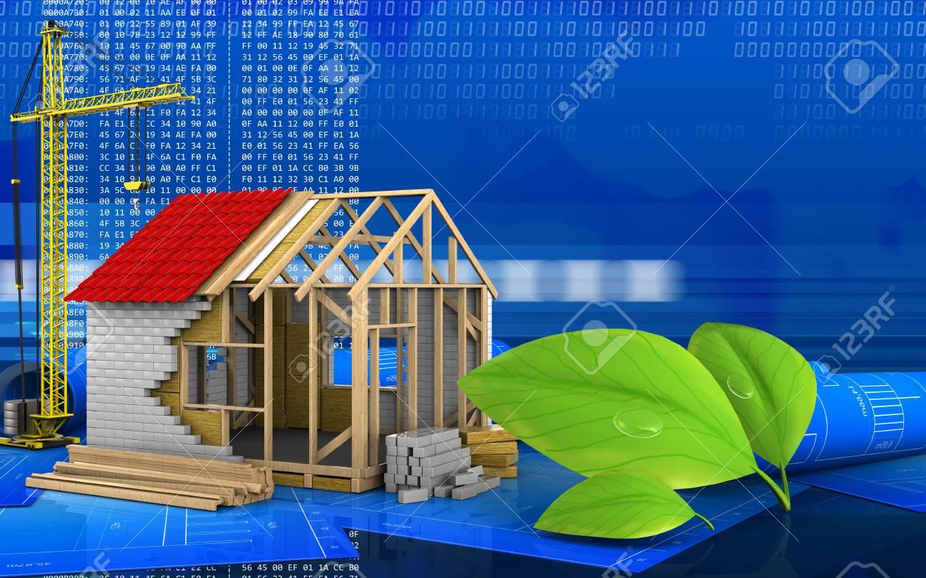 3d Illustration Of Frame House With Crane Over Digital Background