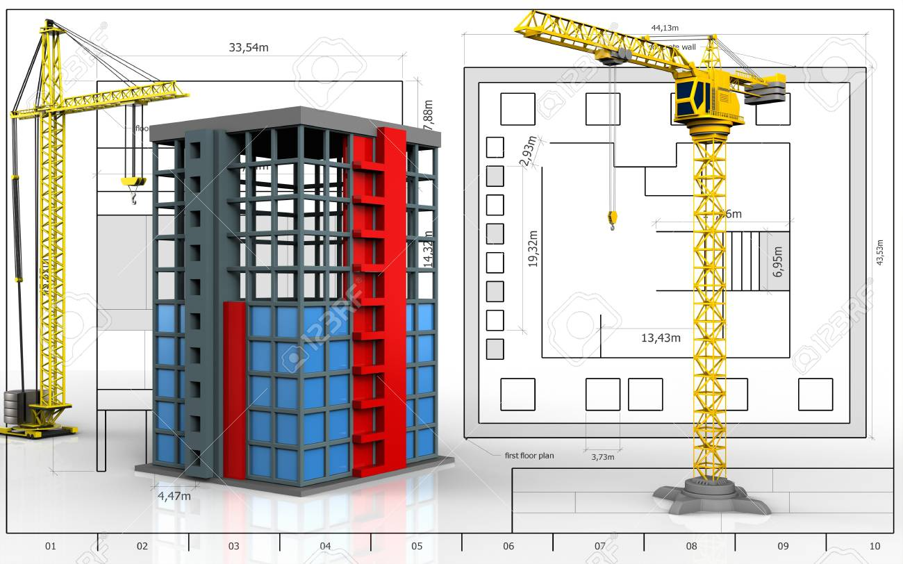 3d illustration of building construction with crane over blueprint 3d illustration of building construction with crane over blueprint background stock illustration 83675590 malvernweather Gallery