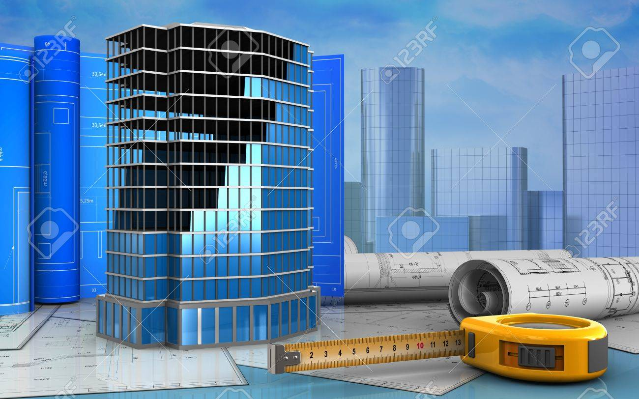 3d Illustration Of Office Building Construction With Drawing