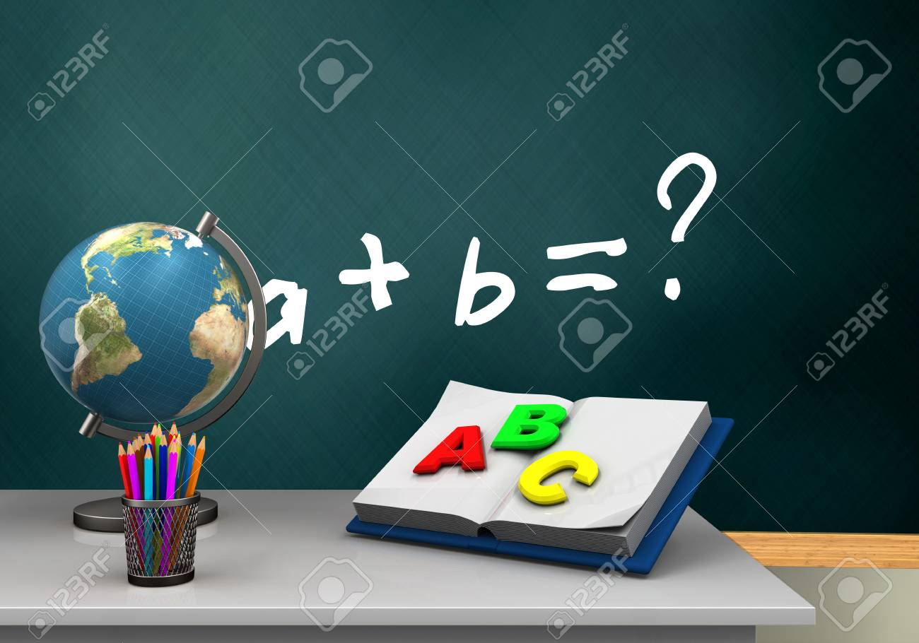 3d Illustration Of Schoolboard With Math Exercise Text And Opened ...