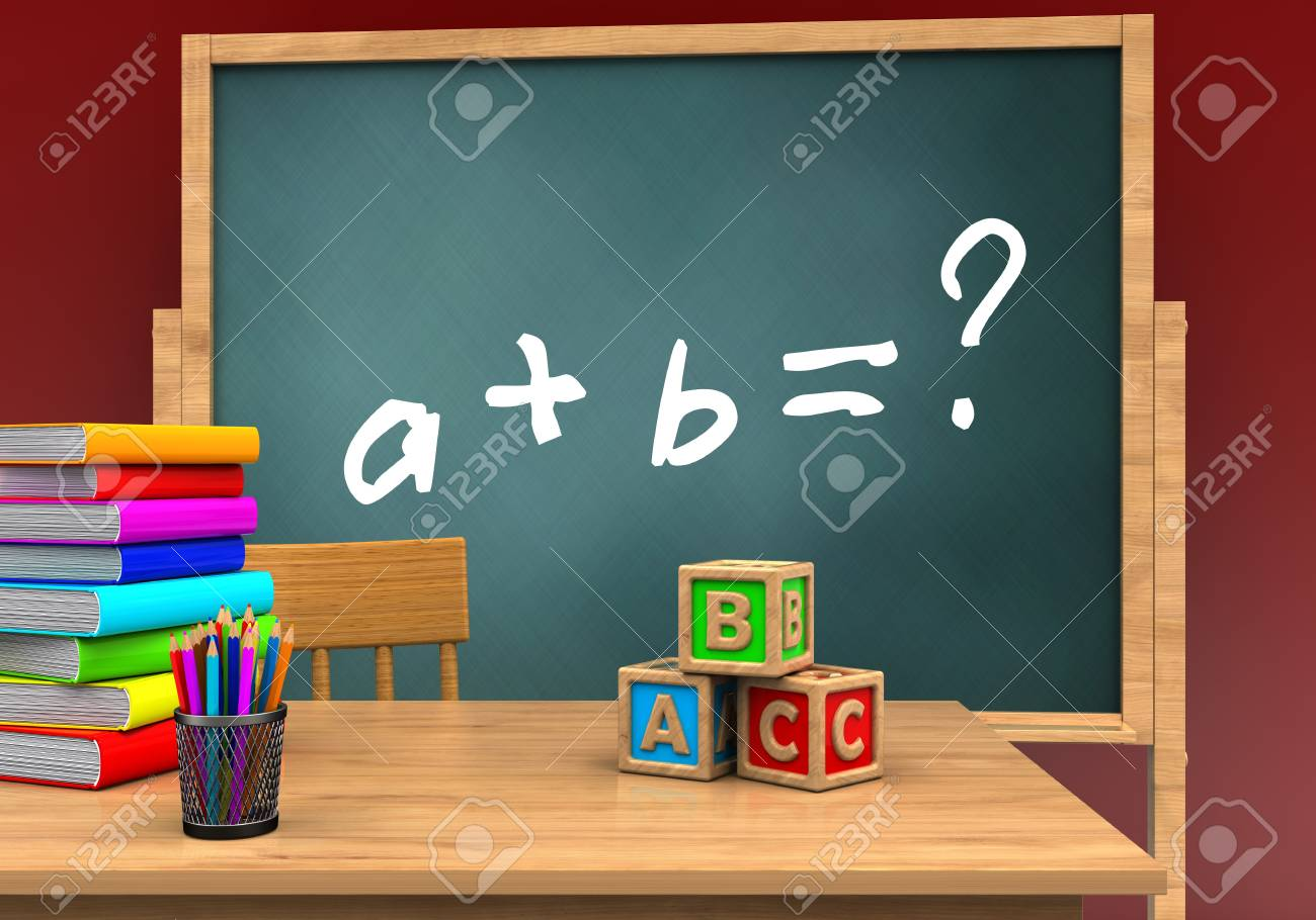 3d Illustration Of Board With Math Exercise Text And Abc Cubes Stock ...