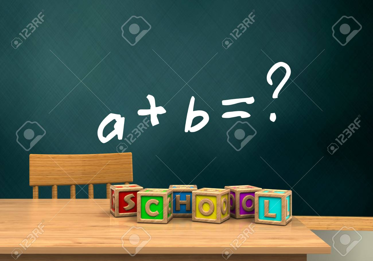 3d Illustration Of Schoolboard With Math Exercise Text And Letters ...