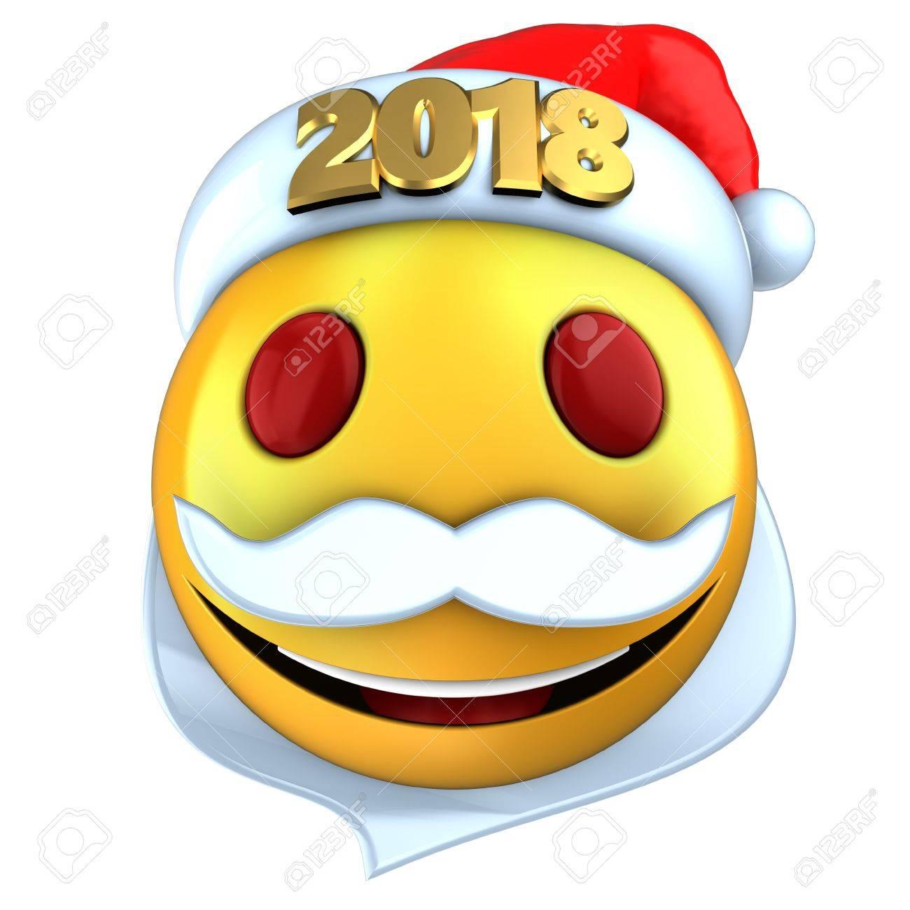 3D-Darstellung Von Gelben Emoticon Lächeln Mit 2018 Weihnachten Hut ...